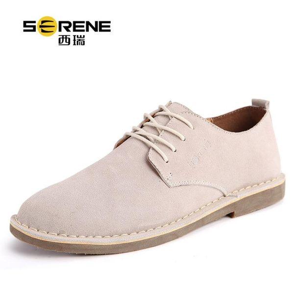 西瑞男士休閒鞋內增高鞋子男鞋大碼英倫皮鞋沙漠真皮牛津板鞋春季