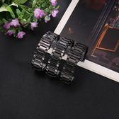 黑色手錶帶男蝴蝶扣代用西鐵城卡西歐海鷗精鋼不銹鋼錶鍊鋼帶22mm