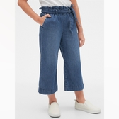 Gap女童時尚水洗荷葉邊飾牛仔褲540052-深色水洗做舊