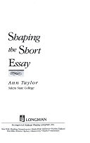 二手書博民逛書店 《Shaping the Short Essay》 R2Y ISBN:0673396789│Addison-Wesley