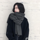 韓版純色針織毛線圍巾女秋冬季加厚保暖學生...