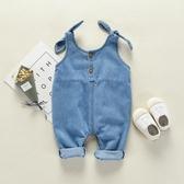 1歲男女寶寶牛仔背帶褲春秋裝嬰兒連體開襠褲