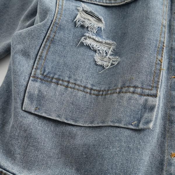 復古抓破刺繡水洗牛仔外套中大尺碼【96-25-880200818013-20】ibella 艾貝拉