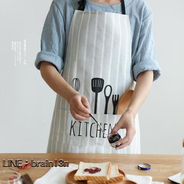 快速出貨 北歐風布藝創意圍裙時尚面包店廚房家居半身圍裙QJ-4