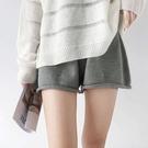 EASON SHOP(GW6033)韓版純色百搭單口袋腳卷邊鬆緊腰收腰A字針織短褲女高腰寬褲休閒褲直筒褲閨蜜裝灰
