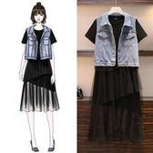 折后價不退換中大尺碼XL-5XL洋裝二件套33536胖妹妹牛仔馬甲網紗拼接裙兩件套裝