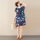 棉綢花花印花顯瘦洋裝-中大尺碼 獨具衣格 J2698
