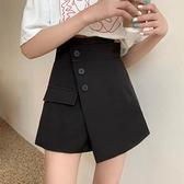 大碼半身裙胖MM夏季高腰A字裙顯瘦不規則黑色裙褲2021新款短裙子 pinkq時尚女裝