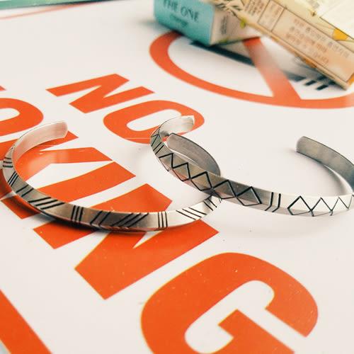 PocoPlus 北歐瑞典極簡主義 鈦鋼飾品花紋潮品復古三角形金色情侶手鐲男 AC051