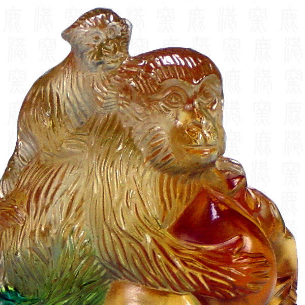 居家開運商品-琉璃SS十二生肖文鎮-猴-附精美包裝◆免運費送到家