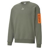 PUMA 男性流行系列Interstellar軍綠色圓領衫- NO. 53029164
