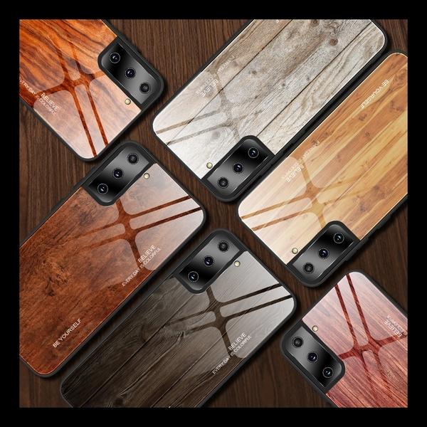 【萌萌噠】三星 Galaxy S21+ S21 Ultra 純色仿木紋 大理石彩繪 全包軟邊 鋼化玻璃背板 手機殼 手機套