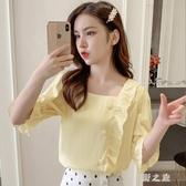 很仙的雪紡上衣女2019夏季新款韓版寬鬆時尚百搭修身短袖洋氣襯衫打底衣LZ1956【野之旅】