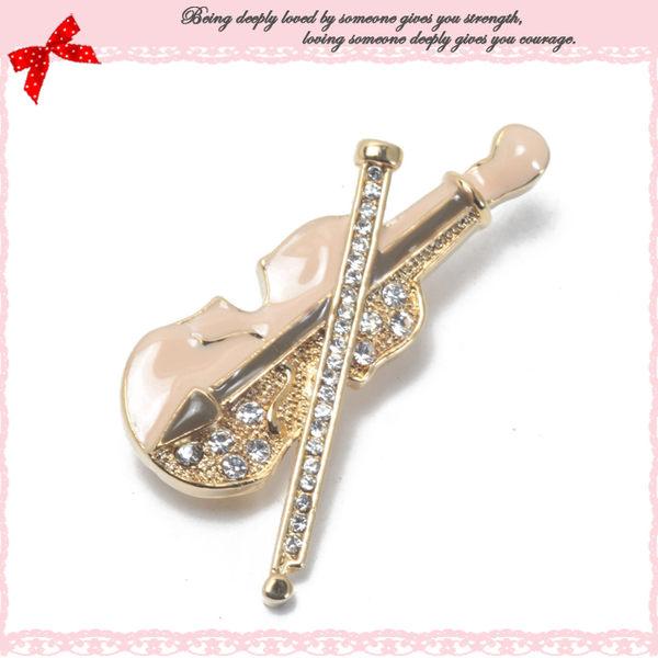 Deluxe-樂器系列-古典氣質水鑽小提琴別針