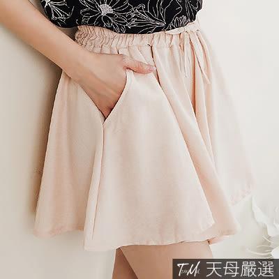 【天母嚴選】雙口袋鬆緊腰棉麻綁帶寬管褲裙(共三色)