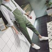 背帶褲 男潮新款夏季班服韓版工裝褲青年學生學院風連體吊帶褲