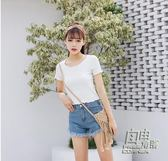 短袖緊身t恤女裝修身荷葉木耳邊夏季顯瘦短款體恤衫原宿針織上衣 自由角落