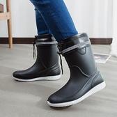 雨鞋 韓版梅雨冬季廚師筒靴男防水工作雨鞋夏季工地時尚款帥氣個性男生