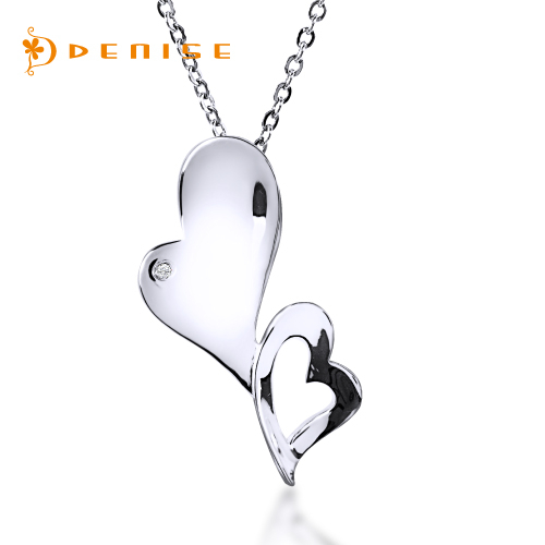 925純銀 心心相印項墜「天然鑽石項鍊」主石0.01克拉 /銀飾情人禮物 / 贈白鋼項鍊
