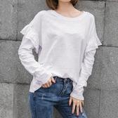 秋裝韓國休閒新款竹節棉荷葉長袖t恤女裝大碼純棉寬鬆打底衫上衣  魔法鞋櫃