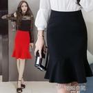 2020春夏新款提臀魚尾裙半身裙女大碼顯瘦包臀中長裙荷葉邊職業裙