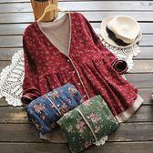 棉麻上衣 復古女寬鬆碎花棉麻娃娃衫長袖襯衫假兩件開衫上衣  都市時尚