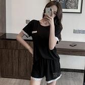 睡衣女士夏季短袖莫代爾可愛黑色薄款兩件套裝性感網紅爆款家居服 夏季狂歡