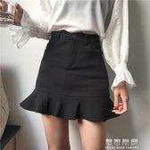 港味復古chic風純色修身百搭高腰包臀魚尾裙荷葉邊A字半身裙短裙 可可鞋櫃