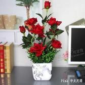 滴水玫瑰仿真花套裝假花絹花高仿真手感客廳擺放花藝裝飾花 FF5809【Pink 中大尺碼】