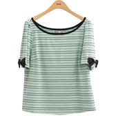 夏日520[H2O]多色條紋棉質百搭針織上衣 - 白/粉/淺綠色 #9681009