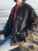 復古黑色長袖牛仔外套女學生韓版百搭bf風寬鬆甲克短外套 青山市集