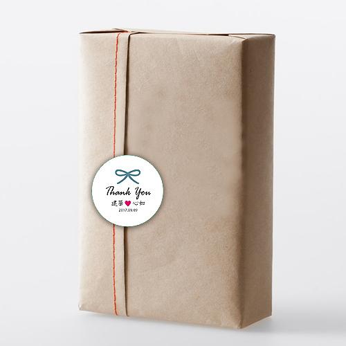 幸福婚禮小物❤圓形蝴蝶結款 貼紙 500入❤貼紙/客製化