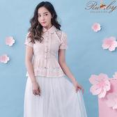 上衣 露比設計條紋透膚蕾絲傘襬短袖上衣-粉色-Ruby s露比午茶