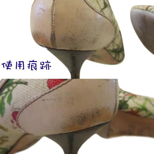 【巴黎站二手名牌專賣店】*GUCCI 真品*米色 花紋 竹節 包鞋 高跟鞋