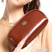 手拿包錢包女長款2020新款可放手機拉鏈牛皮小包包手包女手抓包『蜜桃時尚』