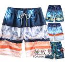 夏天海邊度假休閒男五分加肥加大碼花沙灘褲OU72『極致男人』