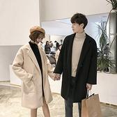 毛呢大衣男情侶冬季韓版潮流中長款風衣2020新款加絨加厚呢子外套