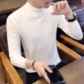 秋冬季毛衣男士韓版半高領毛衣保暖針織衫個性線衣修身白色打底衫-ifashion