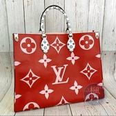 BRAND楓月 LV M44569 紅X粉 拼色 多色 雙面 ONTHEGO 托特包