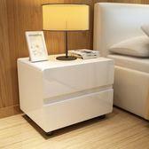 床頭櫃簡約烤漆床邊櫃時尚臥室收納櫃現代個性整裝儲物櫃 igo  全館免運