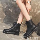 黑色馬丁靴女英倫風短靴新款百搭網紅瘦瘦加絨靴子棉鞋秋鞋冬 伊衫風尚