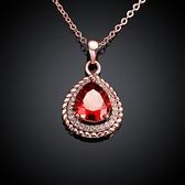 項鍊 玫瑰金純銀 水晶吊墜-時尚鑲鑽生日情人節禮物女飾品3色73br1【時尚巴黎】