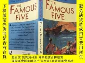 二手書博民逛書店the罕見famous five five on a treasure island 寶 島上有名的五五Y20