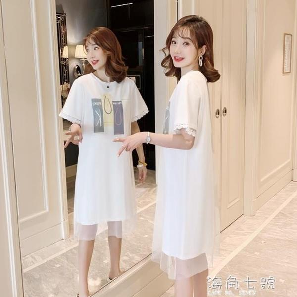 夏季新款大碼假兩件流行網紗短袖t恤女中長款洋氣連衣裙子潮 元旦全館免運