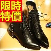 真皮短靴-經典有型素雅高跟女靴子1色62d49[巴黎精品]