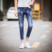 男牛仔褲窄管褲 小腳時尚男裝褲子簡約修身九分褲《印象精品》t870