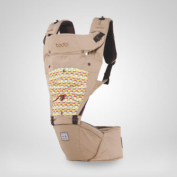 todbi Air Motion Blossom Hipseat Carrier-淺褐色(有 機棉安全氣囊坐墊式揹帶/背巾/揹巾)[衛立兒生活館]