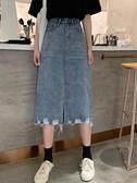 牛仔裙秋季2020新款韓版a字裙子女裝學生高腰毛邊開叉中長款牛仔半身裙新品