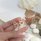 耳環 【迷度】S925銀針雙圓圈耳釘氣質少女心鑲鉆耳環百搭 高級感耳環【快速出貨八五折】