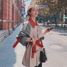 風衣 實拍短款風衣女小個子英倫風2020年秋季新款拼接撞色寬松大衣外套